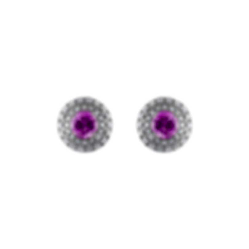 Tresorra 18k White Gold Diamond 0.50ct And Pink Sapphire Earrings 106-WG-PS