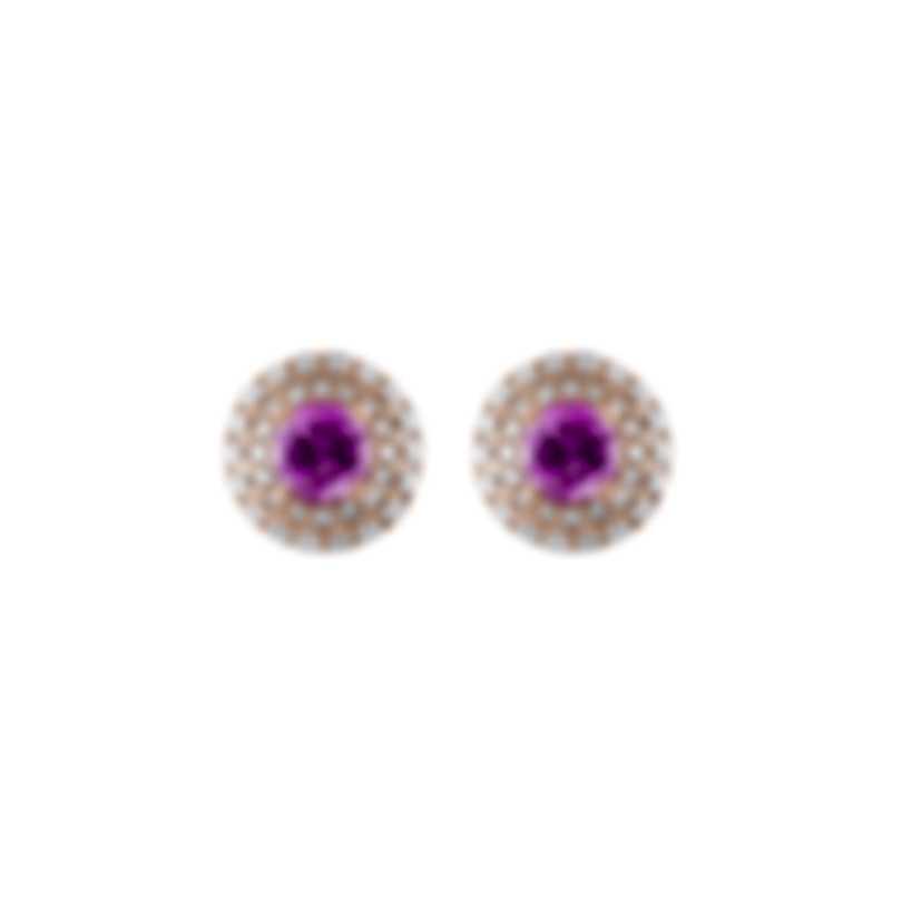 Tresorra 18k Rose Gold Diamond 0.50ct And Pink Sapphire Earrings 108-RG-PS