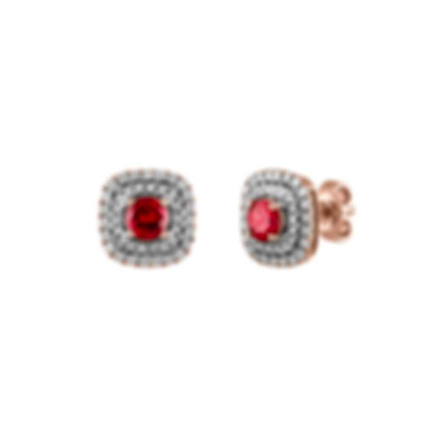 Tresorra 18k Rose Gold Diamond 0.50ct And Ruby Earrings 117-RG-RBY