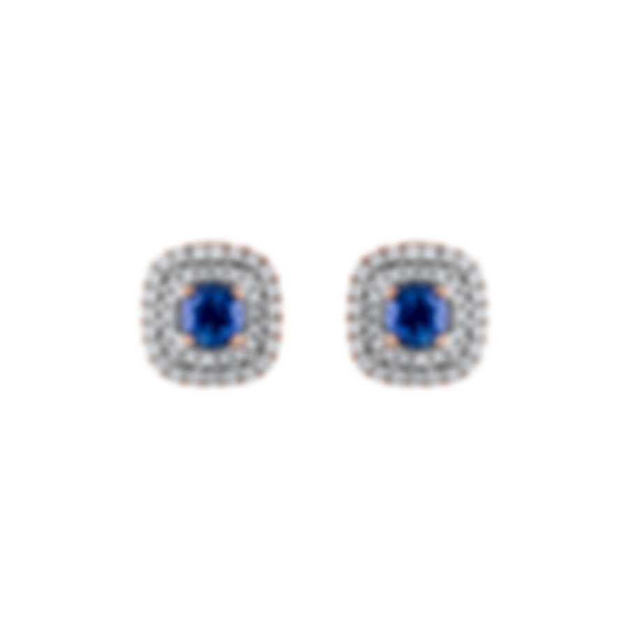 Tresorra 18k Rose Gold Diamond 0.50ct And Sapphire Earrings 114-RG-BS