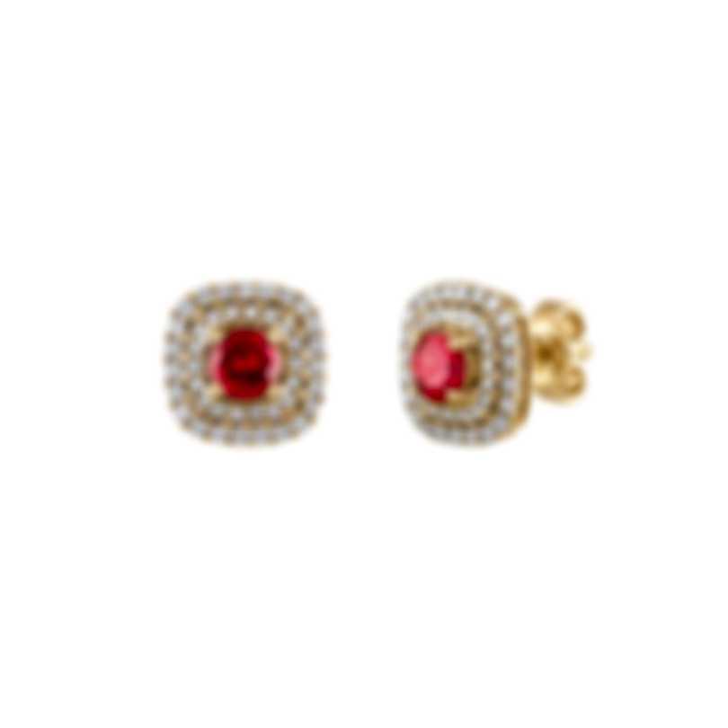 Tresorra 18k Yellow Gold Diamond 0.50ct And Ruby Earrings 115-YG-RBY