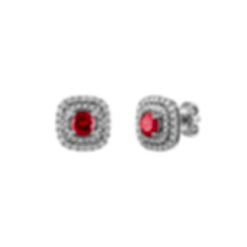 Tresorra 18k White Gold Diamond 0.50ct And Ruby Earrings 116-WG-RBY