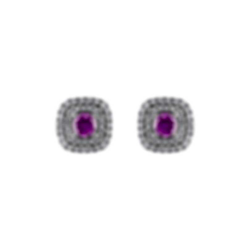 Tresorra 18k White Gold Diamond 0.50ct And Pink Sapphire Earrings 118-WG-PS