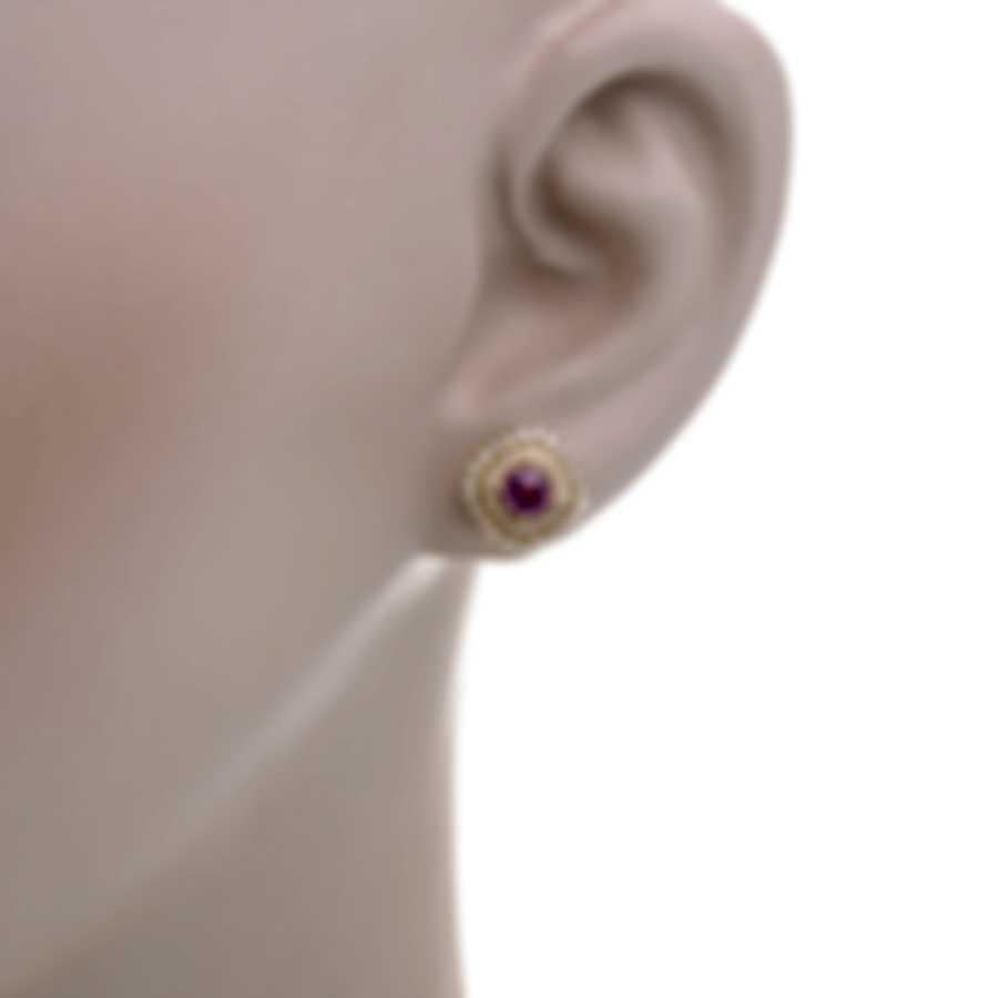 Tresorra 18k Yellow Gold Diamond 0.50ct And Pink Sapphire Earrings 119-YG-PS