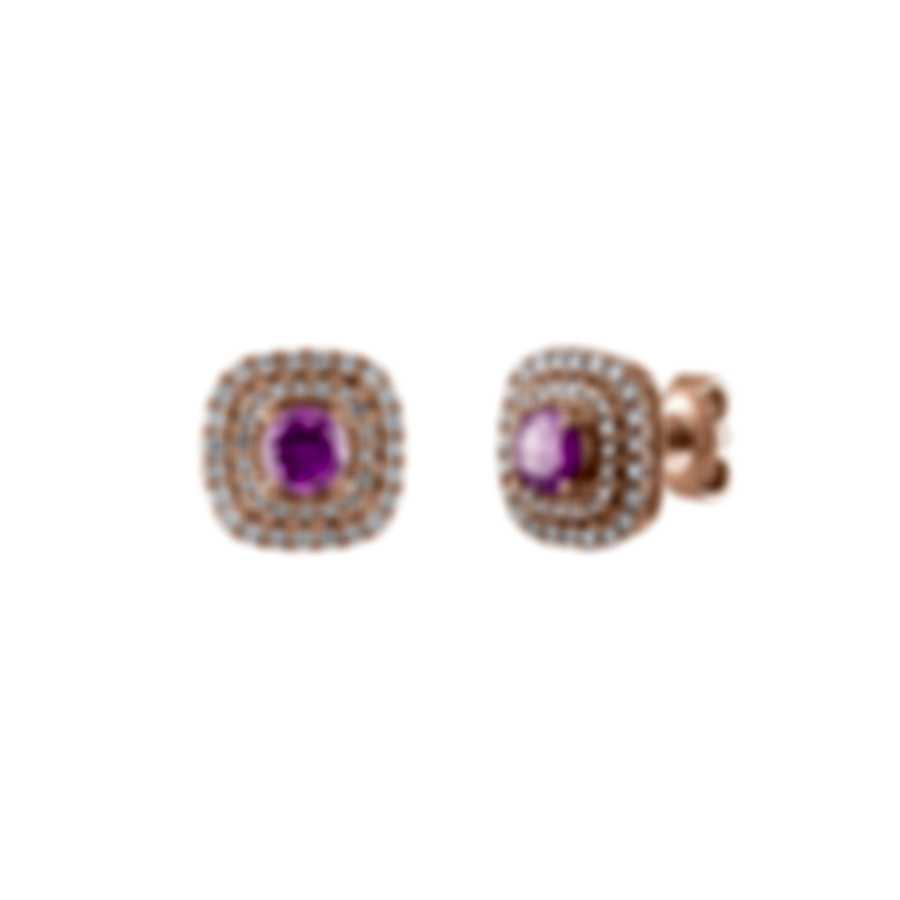 Tresorra 18k Rose Gold Diamond 0.50ct And Pink Sapphire Earrings 120-RG-PS
