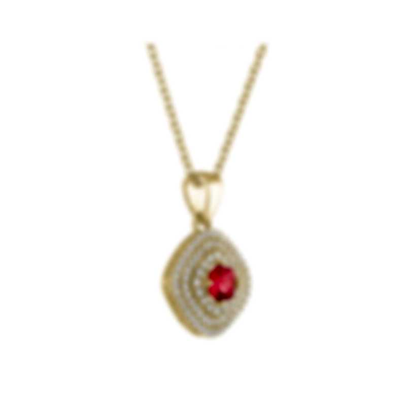 Tresorra 18k Yellow Gold Diamond 0.55ct And Ruby Necklace 127-YG-RBY