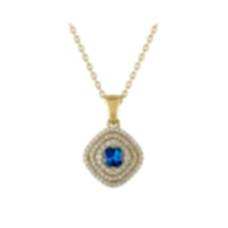 Tresorra 18k Yellow Gold Diamond 0.55ct And Sapphire Necklace 126-YG-BS