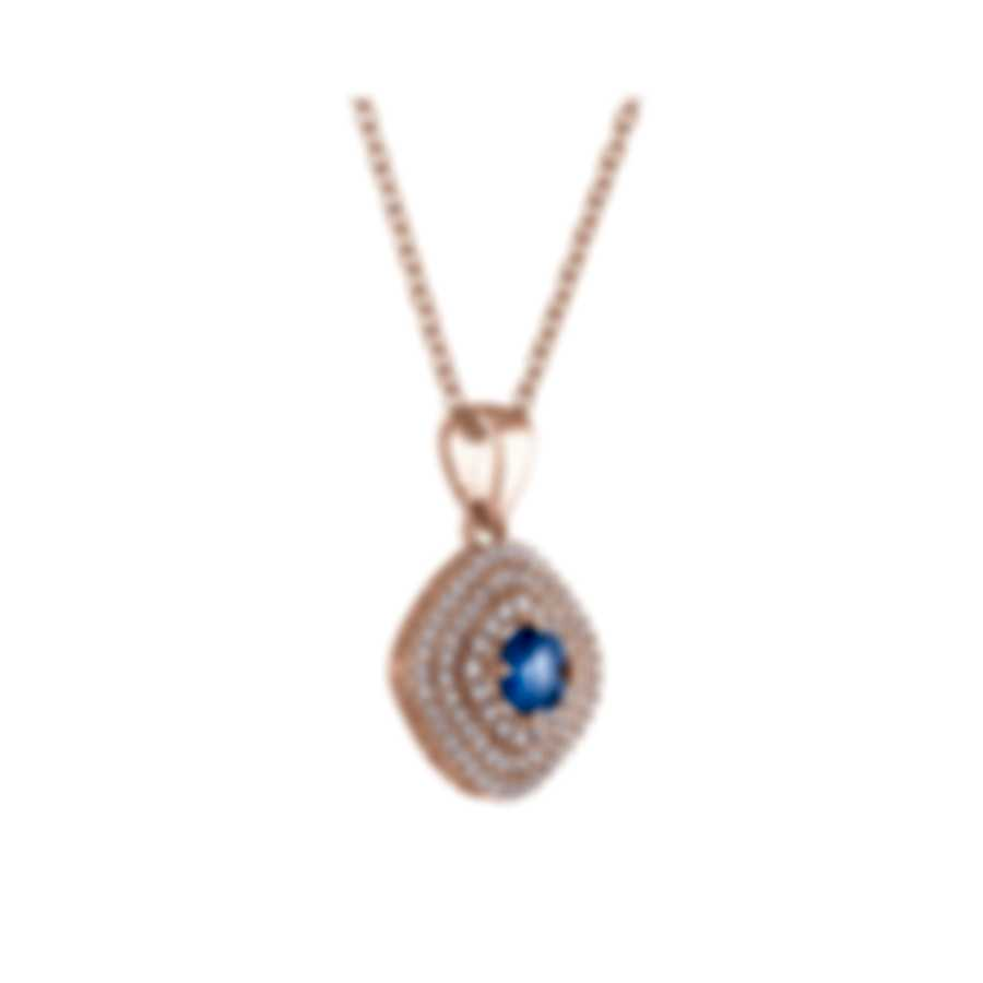 Tresorra 18k Rose Gold Diamond 0.55ct And Sapphire Necklace 128-RG-BS