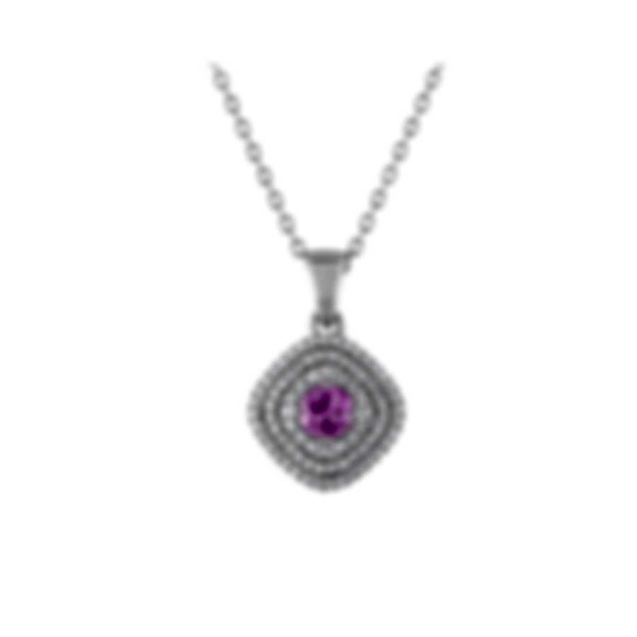 Tresorra 18k White Gold Diamond 0.55ct And Pink Sapphire Necklace 130-WG-PS