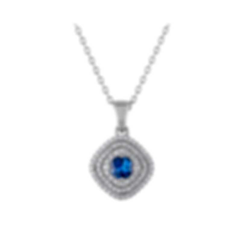 Tresorra 18k White Gold Diamond 0.55ct And Sapphire Necklace 131-WG-BS
