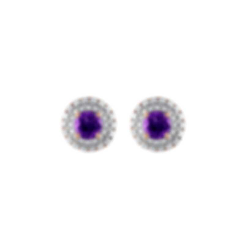Tresorra 18k Rose Gold Diamond 0.45ct And Amethyst Earrings 136-RG-AM