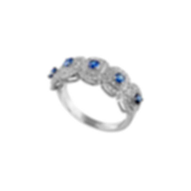 Tresorra 18k White Gold Diamond 0.55ct And Sapphire Ring Sz 6.5 138-WG-BS-R