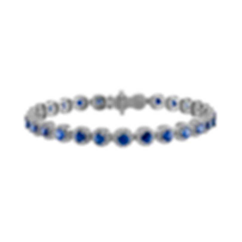 Tresorra 18k White Gold Diamond 2.10ct And Blue Sapphire Bracelet 139-WG-BS-B
