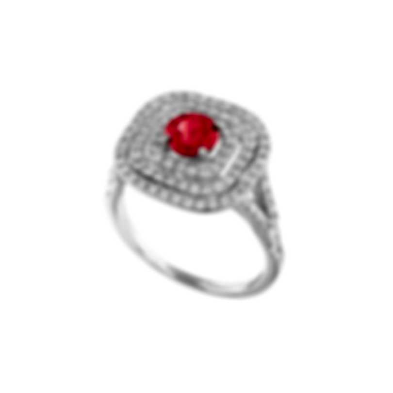 Tresorra 18k White Gold Diamond 0.70ct And Ruby Ring Sz 6.5 203-WG-RBY-R