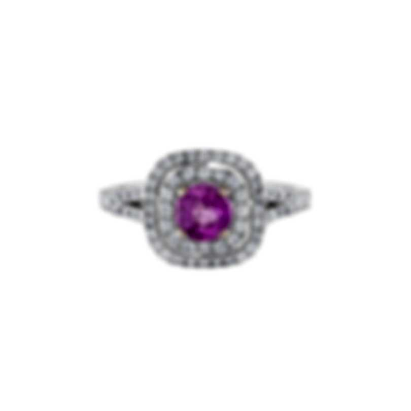 Tresorra 18k White Gold Diamond 0.50ct And Pink Sapphire Ring Sz 6.75 200-WG-PS-R