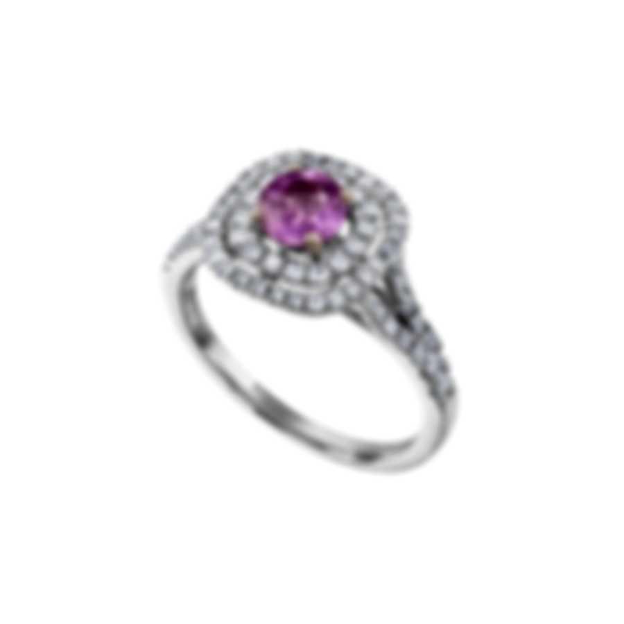 Tresorra 18k White Gold Diamond 0.50ct And Pink Sapphire Ring Sz 6.75 200-WG-PS-R