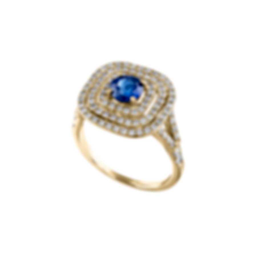 Tresorra 18k Yellow Gold Diamond 0.70ct And Sapphire Ring Sz 6.5 202-YG-BS-R