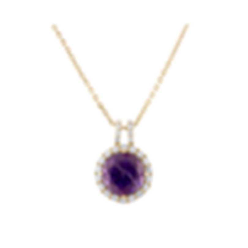 Tresorra 18k Yellow Gold Diamond 0.40ct And Amethyst Necklace 207-YG-AM
