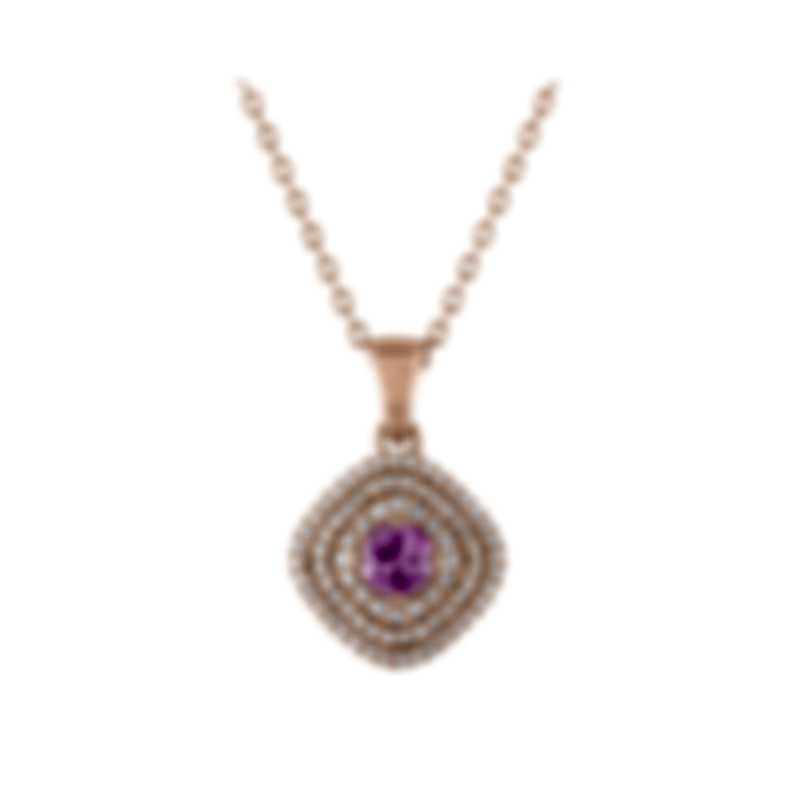 Tresorra 18k Rose Gold Diamond 0.55ct And Pink Sapphire Necklace 204-RG-PS