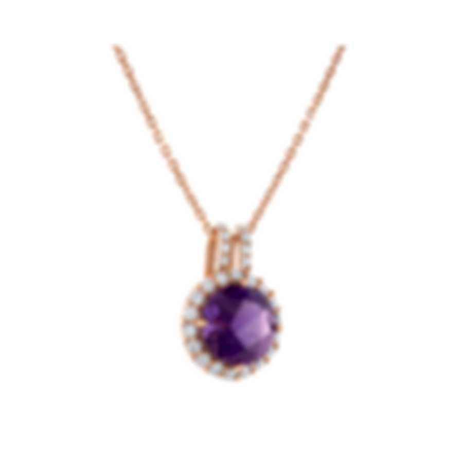 Tresorra 18k Rose Gold Diamond 0.40ct And Amethyst Necklace 211-RG-AM