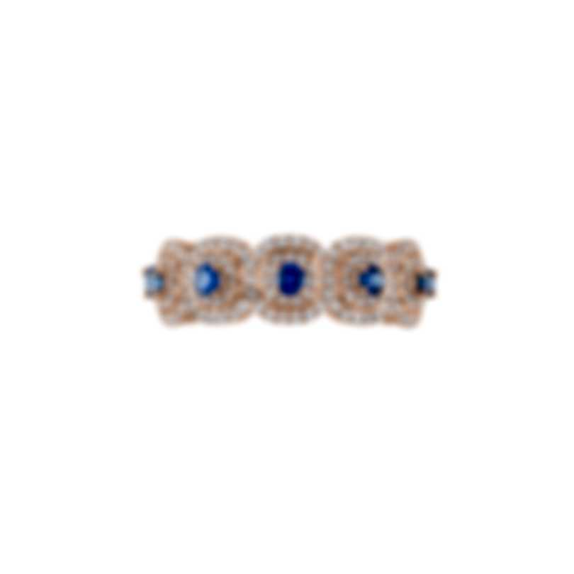 Tresorra 18k Rose Gold Diamond 0.55ct And Sapphire Ring Sz 7 217-RG-BS-R