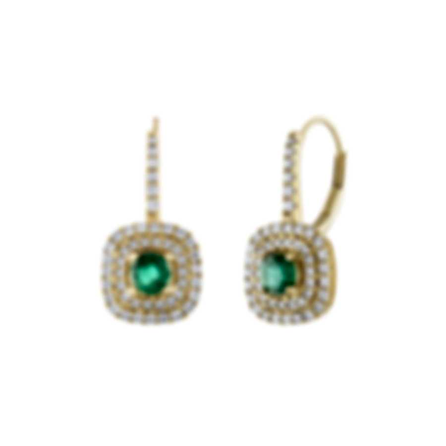 Tresorra 18k Yellow Gold Diamond 0.60ct And Emerald Earrings 216-YG-EM