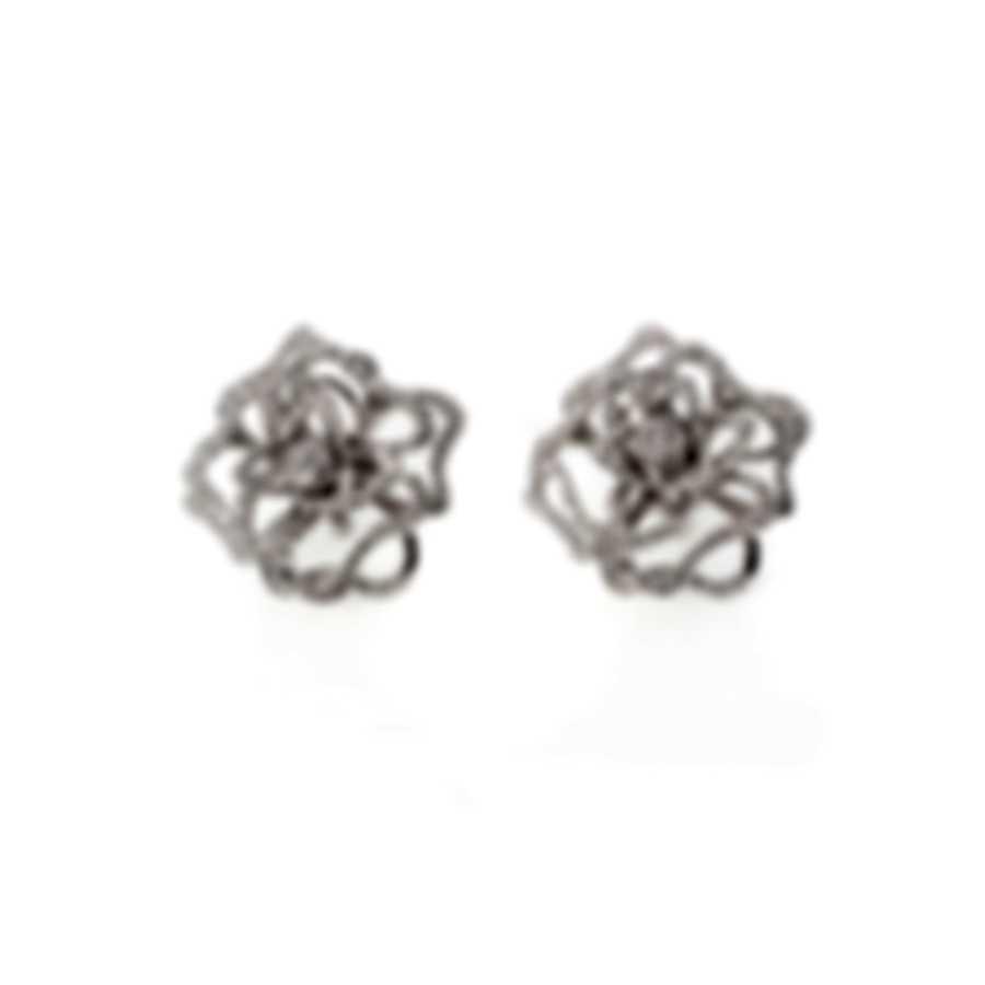 Roberto Coin 18k White Gold Diamond(1.16 Ct Twd) Flower Earrings 273428AWERSB